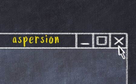 Chalk sketch of closing browser window with page header inscription aspersion