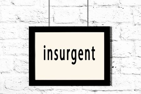 Black wooden frame with inscription insurgent hanging on white brick wall