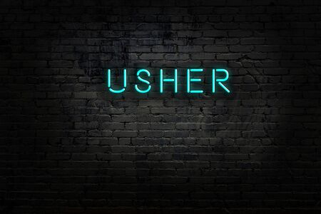 Neon sign with inscription usher against brick wall. Night view