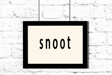 Black wooden frame with inscription snoot hanging on white brick wall Stok Fotoğraf