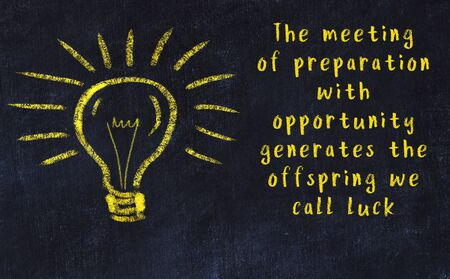 Concept of generating ideas. Chalk drawing of light bulb Banco de Imagens
