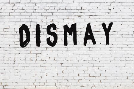 Word dismay written with black paint on white brick wall.