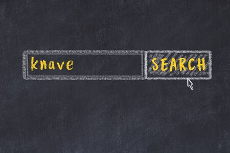 Drawing of search engine on black chalkboard. Concept of looking for knave