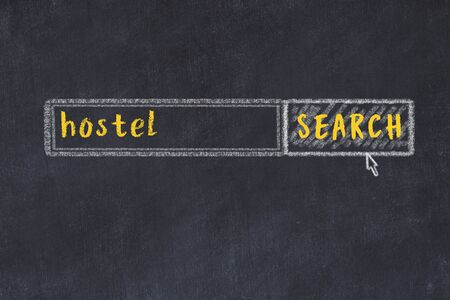 Drawing of search engine on black chalkboard. Concept of looking for hostel