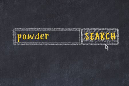 Drawing of search engine on black chalkboard. Concept of looking for powder Imagens