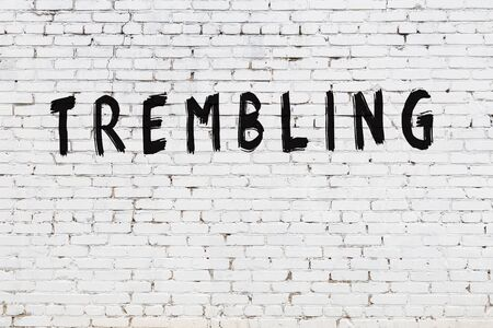 White brick wall with inscription trembling handwritten with black paint Stock Photo