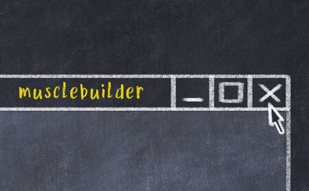 Chalk sketch of closing browser window with page header inscription musclebuilder Standard-Bild
