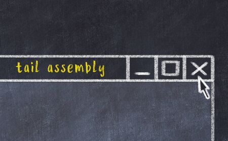 Chalk sketch of closing browser window with page header inscription tail assembly