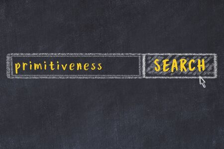 Drawing of search engine on black chalkboard. Concept of looking for primitiveness