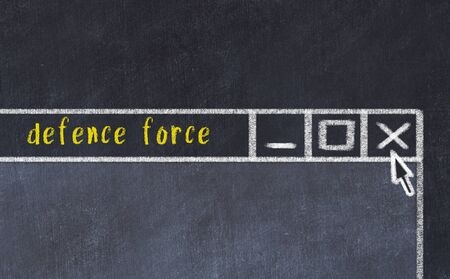 Closing browser window with caption defence force. Chalk drawing. Concept of dealing with trouble