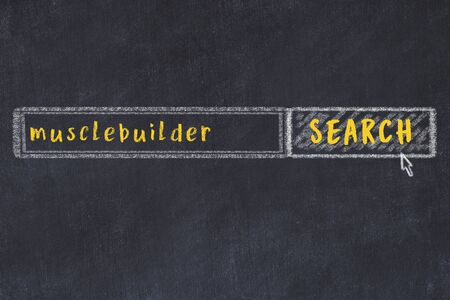 Drawing of search engine on black chalkboard. Concept of looking for musclebuilder Standard-Bild
