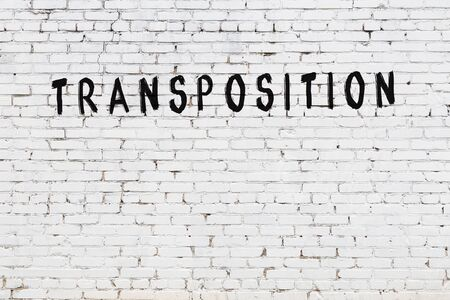 Word transposition written with black paint on white brick wall.