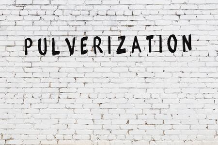 Word pulverization written with black paint on white brick wall.
