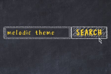 Concept of looking for melodic theme. Chalk drawing of search engine and inscription on wooden chalkboard