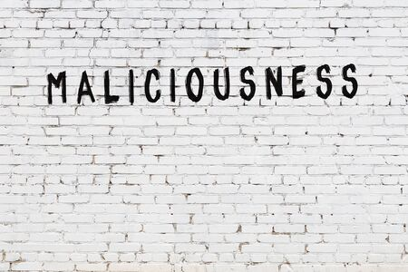 Word maliciousness written with black paint on white brick wall.