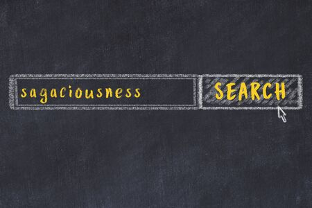 Drawing of search engine on black chalkboard. Concept of looking for sagaciousness Imagens
