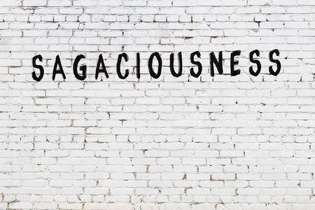 Word sagaciousness written with black paint on white brick wall.