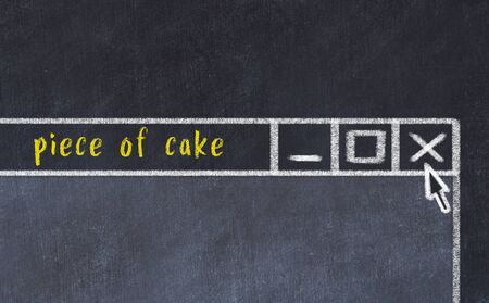Closing browser window with caption piece of cake. Chalk drawing. Concept of dealing with trouble