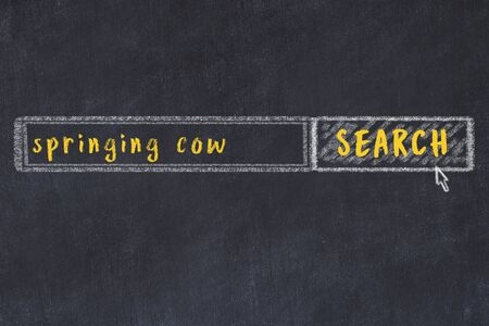 Concept of looking for springing cow. Chalk drawing of search engine and inscription on wooden chalkboard
