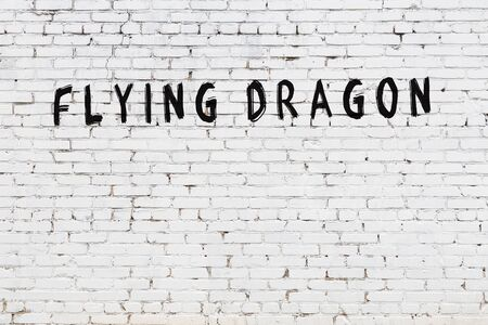Word flying dragon written with black paint on white brick wall.