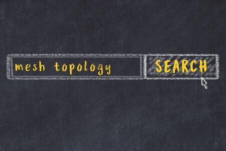 Concept of looking for mesh topology. Chalk drawing of search engine and inscription on wooden chalkboard