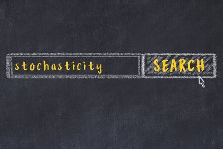 Drawing of search engine on black chalkboard. Concept of looking for stochasticity Archivio Fotografico
