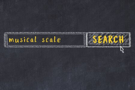 Concept of looking for musical scale. Chalk drawing of search engine and inscription on wooden chalkboard