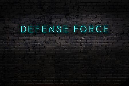 Neon sign with inscription defense force against brick wall. Night view Archivio Fotografico