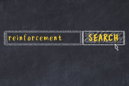 Drawing of search engine on black chalkboard. Concept of looking for reinforcement Archivio Fotografico