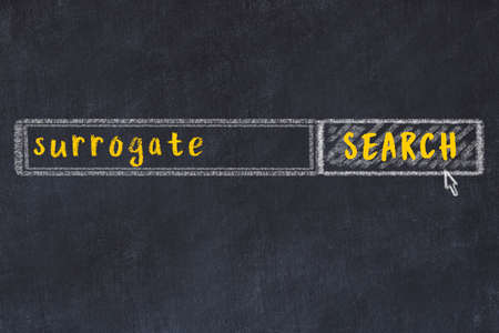Concept of looking for surrogate. Chalk drawing of search engine and inscription on wooden chalkboard