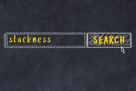Concept of looking for slackness. Chalk drawing of search engine and inscription on wooden chalkboard