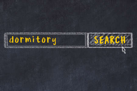 Concept of looking for dormitory. Chalk drawing of search engine and inscription on wooden chalkboard