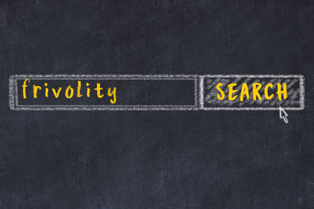Concept of looking for frivolity. Chalk drawing of search engine and inscription on wooden chalkboard Banco de Imagens