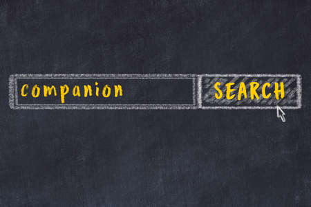 Concept of looking for companion. Chalk drawing of search engine and inscription on wooden chalkboard