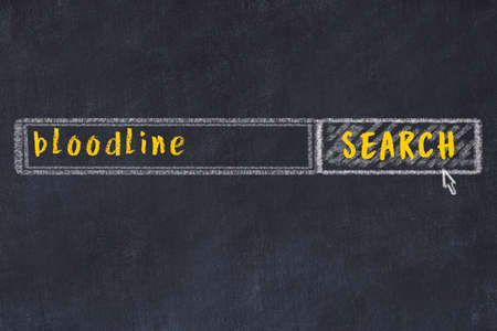 Concept of looking for bloodline. Chalk drawing of search engine and inscription on wooden chalkboard