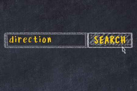 Drawing of search engine on black chalkboard. Concept of looking for direction