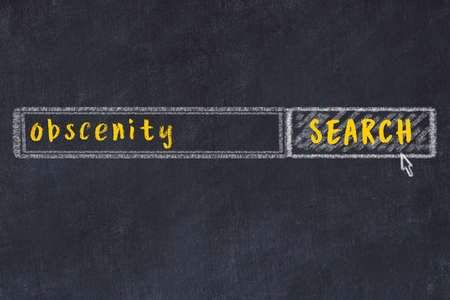 Concept of looking for obscenity. Chalk drawing of search engine and inscription on wooden chalkboard
