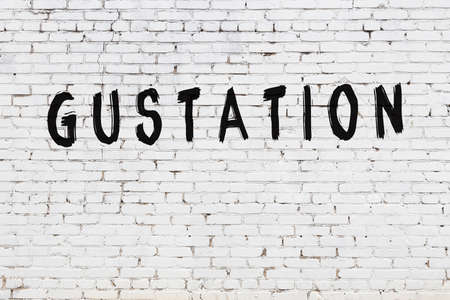 White brick wall with inscription gustation handwritten with black paint