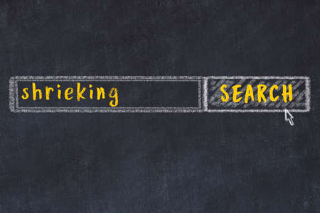 Concept of looking for shrieking. Chalk drawing of search engine and inscription on wooden chalkboard