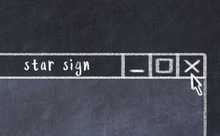 Closing browser window with caption star sign. Chalk drawing. Concept of dealing with trouble Standard-Bild