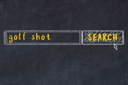 Drawing of search engine on black chalkboard. Concept of looking for golf shot Standard-Bild