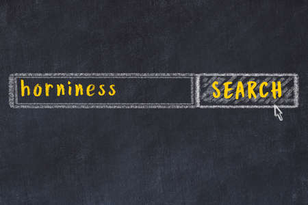 Concept of looking for horniness. Chalk drawing of search engine and inscription on wooden chalkboard Standard-Bild