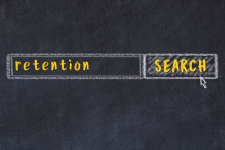 Drawing of search engine on black chalkboard. Concept of looking for retention