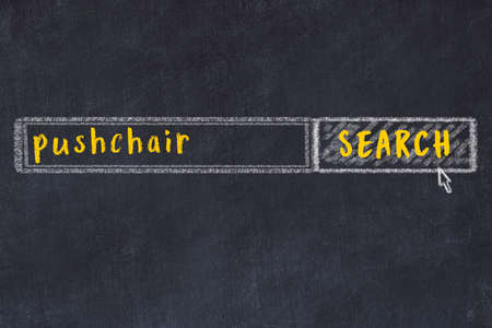 Drawing of search engine on black chalkboard. Concept of looking for pushchair