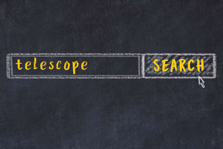 Concept of looking for telescope. Chalk drawing of search engine and inscription on wooden chalkboard
