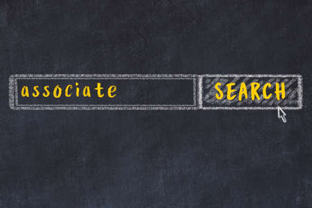 Drawing of search engine on black chalkboard. Concept of looking for associate Imagens
