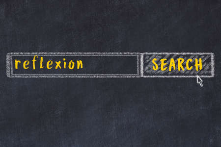Drawing of search engine on black chalkboard. Concept of looking for reflexion