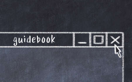 Chalk sketch of closing browser window with page header inscription guidebook