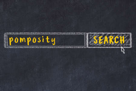 Concept of looking for pomposity. Chalk drawing of search engine and inscription on wooden chalkboard Standard-Bild