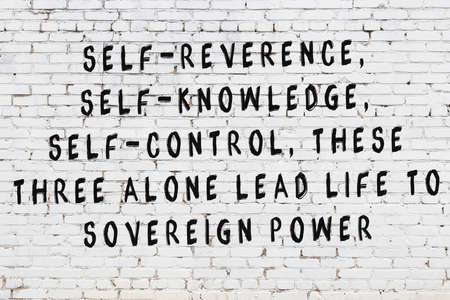 Black painted inscription of smart quotation on white brick wall Foto de archivo